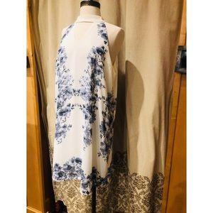 White high neck floral shift dress
